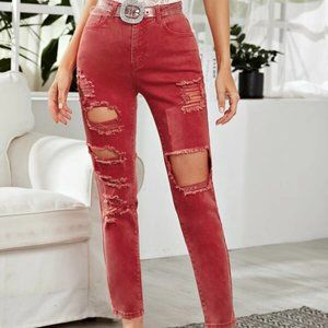 Red/Pink Tipped Jeans in M and L